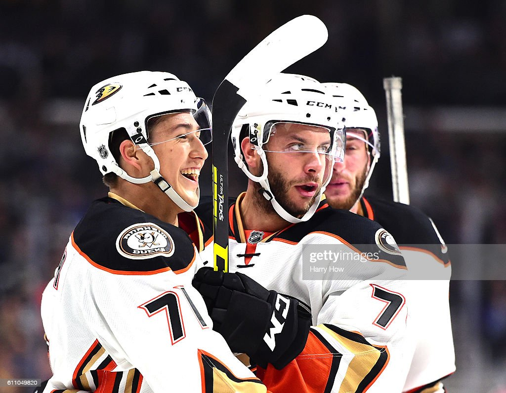 Brandon Montour #71 of the Anaheim Ducks celebrates his goal with Joseph Cramarossa #71 to trail 5-1 to the Los Angeles Kings during a preseason game at Staples Center on September 28, 2016 in Los Angeles, California.