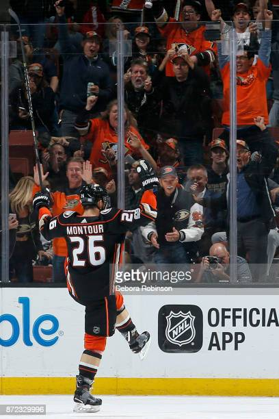Brandon Montour of the Anaheim Ducks celebrates his second period goal during the game against the Vancouver Canucks on November 9 2017 at Honda...