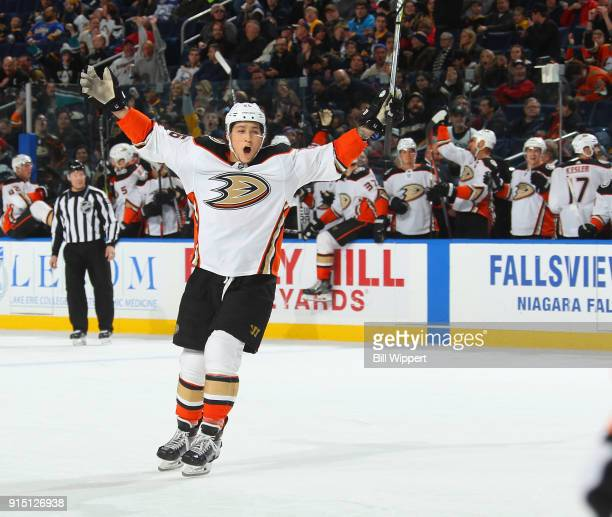 Brandon Montour of the Anaheim Ducks celebrates the overtime game winning goal by Adam Henrique during an NHL game against the Buffalo Sabres on...