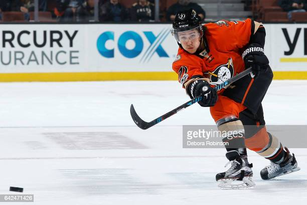 Brandon Montour of the Anaheim Ducks dumps the puck in the zone during the game against the Florida Panthers on February 17 2017 at Honda Center in...