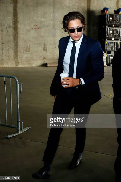 Brandon Montour of the Anaheim Ducks enters Honda Center prior to Game One of the Western Conference First Round against the San Jose Sharks during...