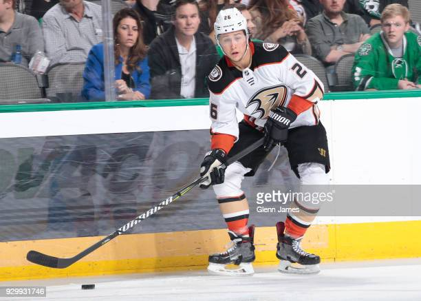 Brandon Montour of the Anaheim Ducks handles the puck against the Dallas Stars at the American Airlines Center on March 9 2018 in Dallas Texas