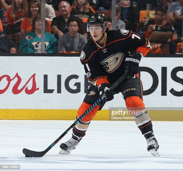 Brandon Montour of the Anaheim Ducks handles the puck during the game against the Nashville Predators in Game Five of the Western Conference Final...