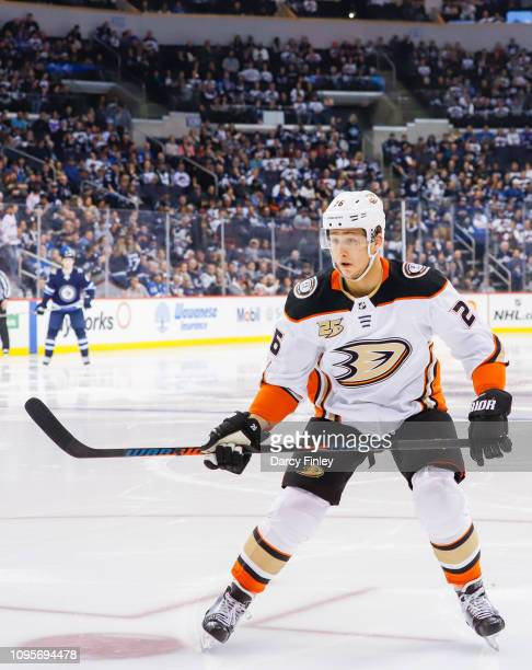 Brandon Montour of the Anaheim Ducks keeps an eye on the play during second period action against the Winnipeg Jets at the Bell MTS Place on January...