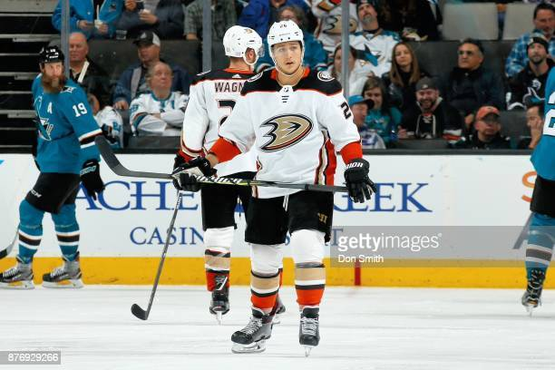 Brandon Montour of the Anaheim Ducks looks on during a NHL game against the San Jose Sharks at SAP Center on November 20 2017 in San Jose California