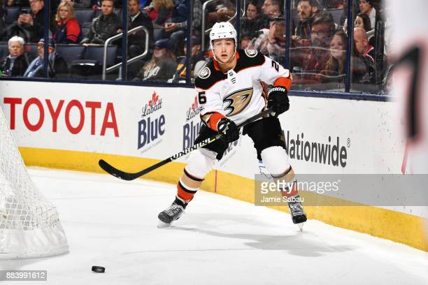 Brandon Montour of the Anaheim Ducks passes the puck during the first period of a game against the Columbus Blue Jackets on December 1 2017 at...
