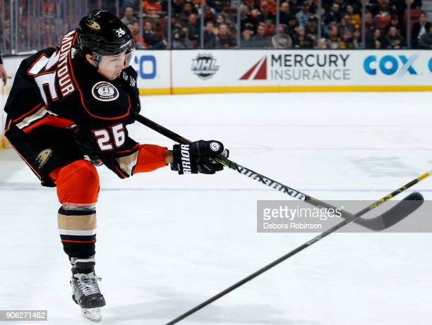 Brandon Montour of the Anaheim Ducks releases a shot during the game against the Pittsburgh Penguins on January 17 2018 at Honda Center in Anaheim...
