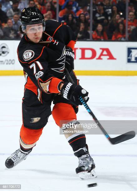 Brandon Montour of the Anaheim Ducks releases a shot in Game Seven of the Western Conference Second Round against the Edmonton Oilers during the 2017...