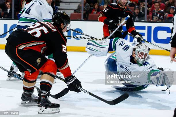 Brandon Montour of the Anaheim Ducks scores against Jacob Markstrom of the Vancouver Canucks during the game on March 14 2018 at Honda Center in...