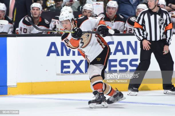 Brandon Montour of the Anaheim Ducks shoots the puck during a game against the Los Angeles Kings at STAPLES Center on January 13 2018 in Los Angeles...