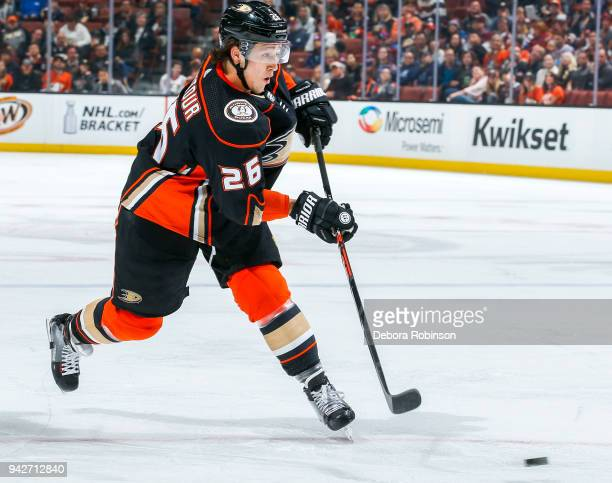 Brandon Montour of the Anaheim Ducks shoots the puck during the first period of the game against the Colorado Avalanche at Honda Center on April 1...