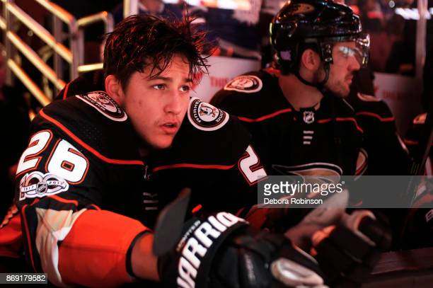 Brandon Montour of the Anaheim Ducks sits on the bench prior to the game against the Toronto Maple Leafs on November 1 2017 at Honda Center in...