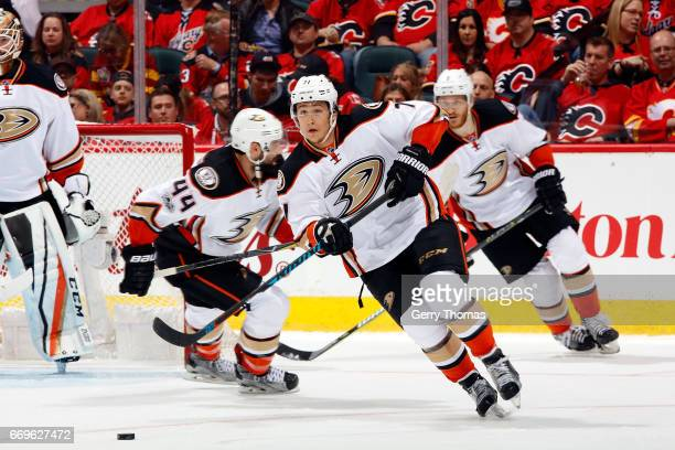 Brandon Montour of the Anaheim Ducks skates against the Calgary Flames during Game One of the Western Conference First Round during the 2017 NHL...