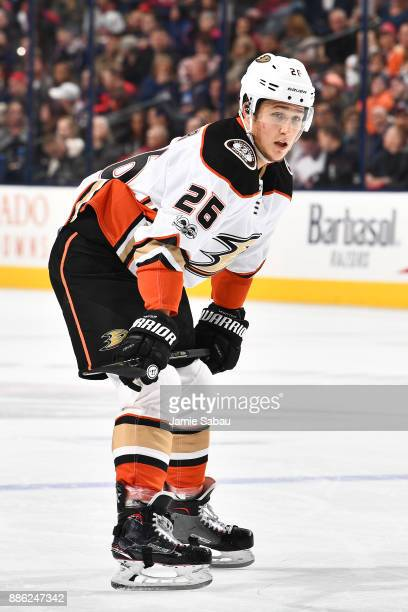 Brandon Montour of the Anaheim Ducks skates against the Columbus Blue Jackets on December 1 2017 at Nationwide Arena in Columbus Ohio