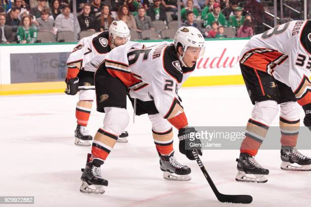 Brandon Montour of the Anaheim Ducks skates against the Dallas Stars at the American Airlines Center on March 9 2018 in Dallas Texas