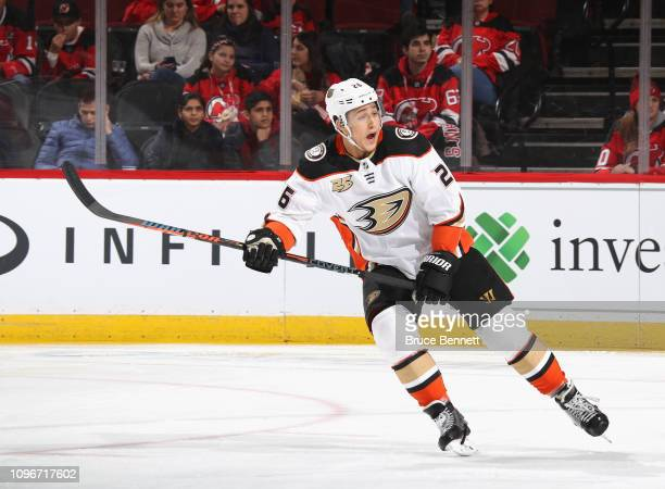 Brandon Montour of the Anaheim Ducks skates against the New Jersey Devils at the Prudential Center on January 19 2019 in Newark New Jersey The Ducks...