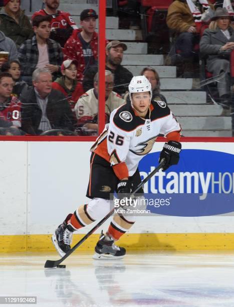 Brandon Montour of the Anaheim Ducks skates against the Ottawa Senators at Canadian Tire Centre on February 7 2019 in Ottawa Ontario Canada