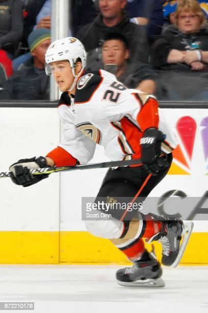 Brandon Montour of the Anaheim Ducks skates during a NHL game against the San Jose Sharks at SAP Center on November 4 2017 in San Jose California