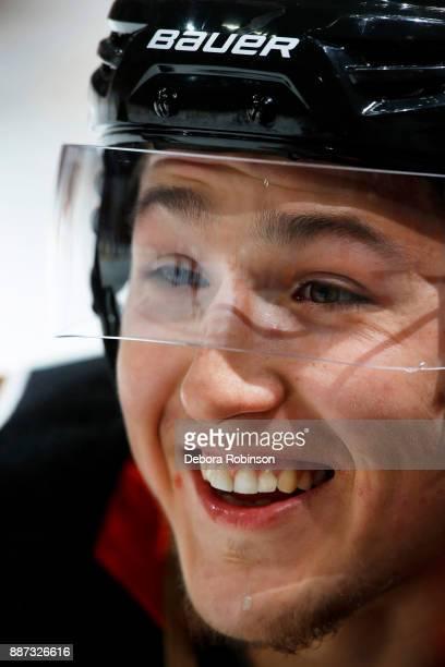 Brandon Montour of the Anaheim Ducks skates in warmups prior to the game against the Ottawa Senators on December 6 2017 at Honda Center in Anaheim...