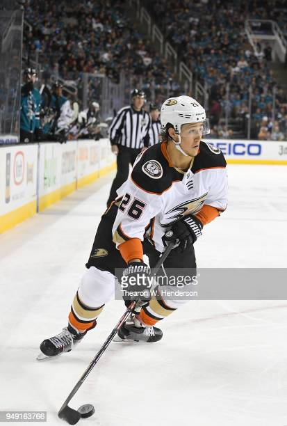 Brandon Montour of the Anaheim Ducks skates up ice with control of the puck against the San Jose Sharks during the first period in Game Four of the...