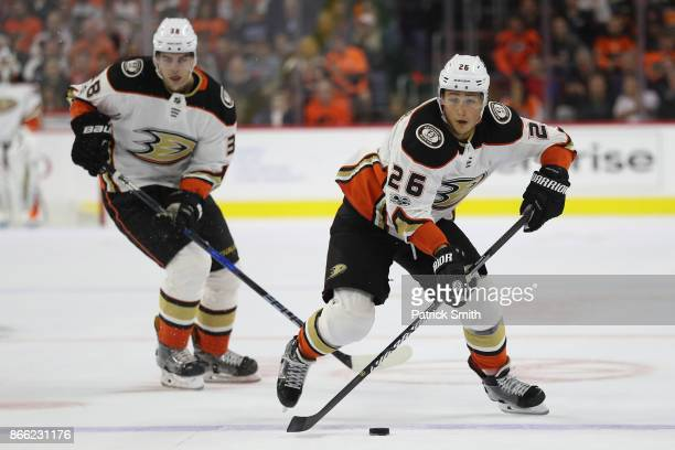 Brandon Montour of the Anaheim Ducks skates with the puck against the Philadelphia Flyers during the first period at Wells Fargo Center on October 24...