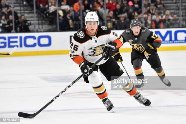 Brandon Montour of the Anaheim Ducks skates with the puck against the Vegas Golden Knights during the game at TMobile Arena on December 5 2017 in Las...