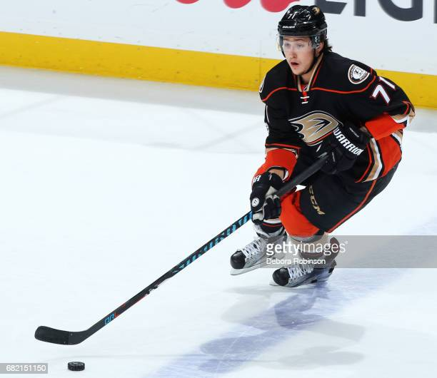 Brandon Montour of the Anaheim Ducks skates with the puck in Game Five of the Western Conference Second Round against the Edmonton Oilers during the...