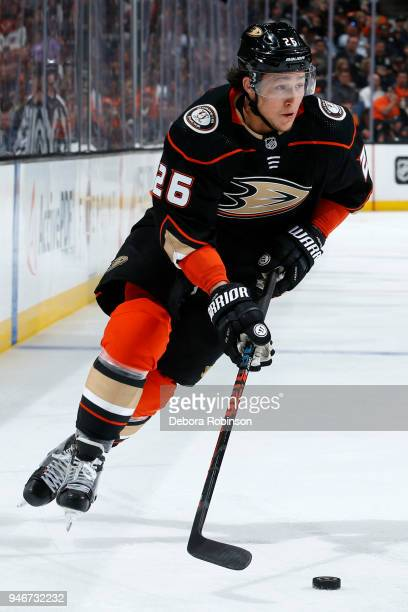 Brandon Montour of the Anaheim Ducks skates with the puck in Game One of the Western Conference First Round against the San Jose Sharks during the...