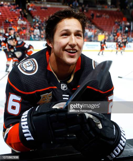 Brandon Montour of the Anaheim Ducks smiles during warmups prior to the game against the New Jersey Devils on December 9 2018 at Honda Center in...