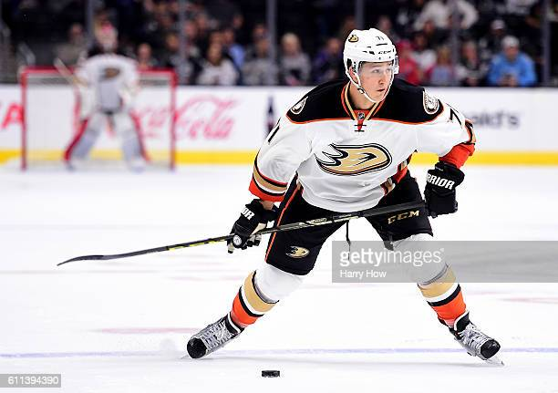 Brandon Montour of the Anaheim Ducks takes a shot during a preseason game against the Los Angeles Kings at Staples Center on September 28 2016 in Los...