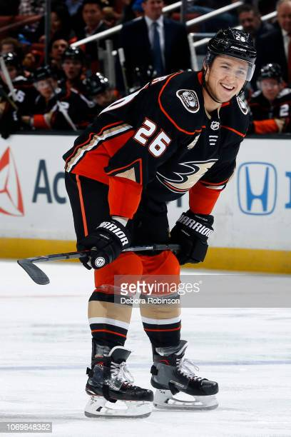 Brandon Montour of the Anaheim Ducks waits for a faceoff during the game against the Carolina Hurricanes on December 7 2018 at Honda Center in...