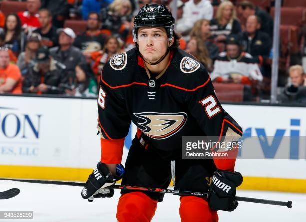 Brandon Montour of the Anaheim Ducks waits for play to begin during the second period of the game against the Dallas Stars at Honda Center on April 6...