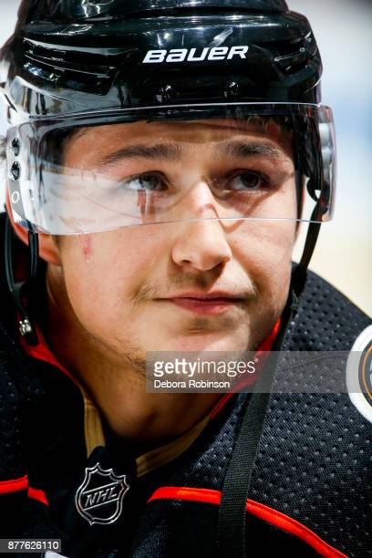 Brandon Montour of the Anaheim Ducks watches warmup before the game against the Vegas Golden Knights at Honda Center on November 22 2017 in Anaheim...
