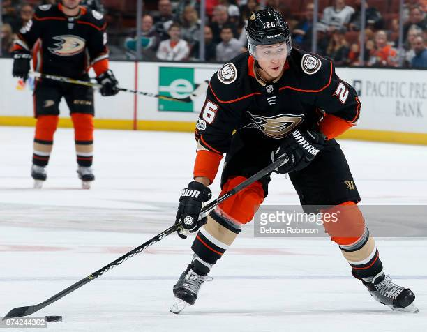 Brandon Montour of the Anaheim Ducks winds up for a shot during the game against the Los Angeles Kings on November 7 2017 at Honda Center in Anaheim...