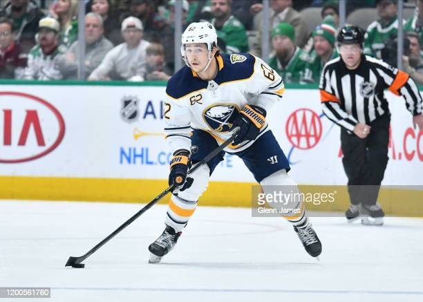 Brandon Montour of the Buffalo Sabres handles the puck against the Dallas Stars at the American Airlines Center on January 16 2019 in Dallas Texas