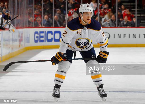 Brandon Montour of the Buffalo Sabres in action against the New Jersey Devils at Prudential Center on March 25 2019 in Newark New Jersey The Devils...