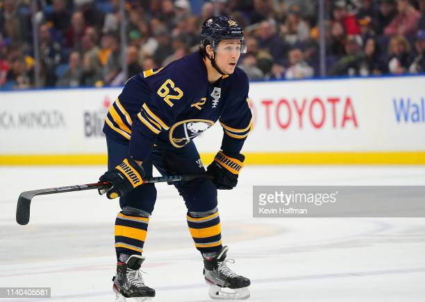 Brandon Montour of the Buffalo Sabres looks on during the game against the Nashville Predators at KeyBank Center on April 2 2019 in Buffalo New York