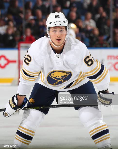 Brandon Montour of the Buffalo Sabres prepares for a faceoff during an NHL game against the Columbus Blue Jackets on February 13 2020 at KeyBank...