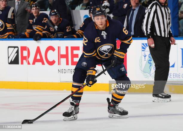 Brandon Montour of the Buffalo Sabres sets to shoot the puck during an NHL game against the Pittsburgh Penguins on March 1 2019 at KeyBank Center in...