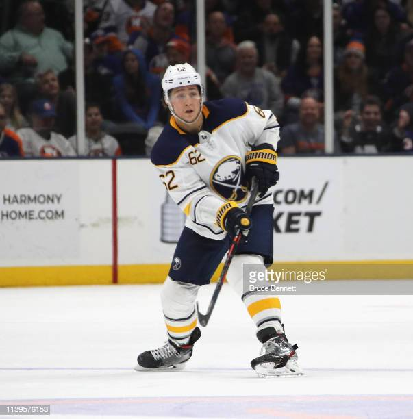 Brandon Montour of the Buffalo Sabres skates against the New York islanders at NYCB Live's Nassau Coliseum on March 30 2019 in Uniondale New York The...
