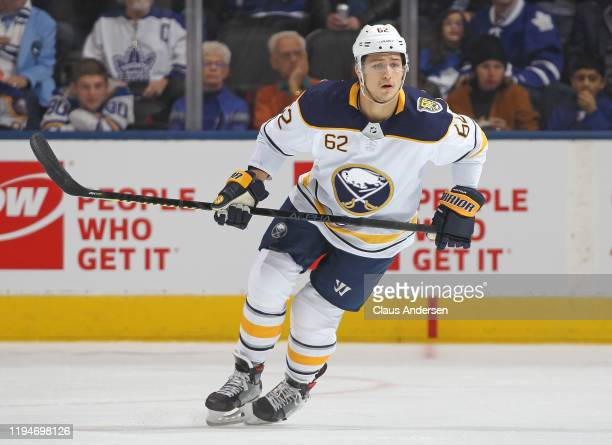 Brandon Montour of the Buffalo Sabres skates against the Toronto Maple Leafs during an NHL game at Scotiabank Arena on December 17 2019 in Toronto...