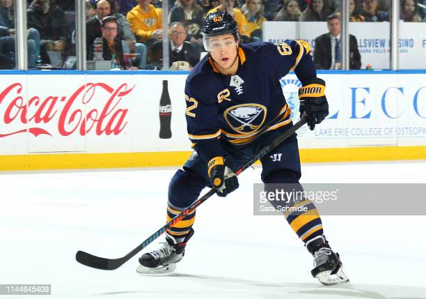 Brandon Montour of the Buffalo Sabres skates during an NHL game against the Nashville Predators on April 2 2019 at KeyBank Center in Buffalo New York