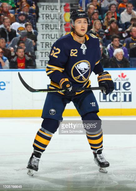 Brandon Montour of the Buffalo Sabres skates during an NHL game against the Anaheim Ducks on February 9 2020 at KeyBank Center in Buffalo New York