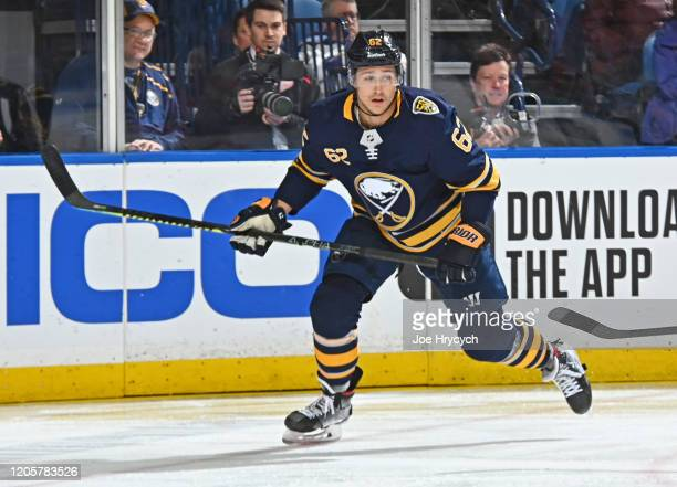 Brandon Montour of the Buffalo Sabres skates during an NHL game against the Detroit Red Wings on February 11 2020 at KeyBank Center in Buffalo New...