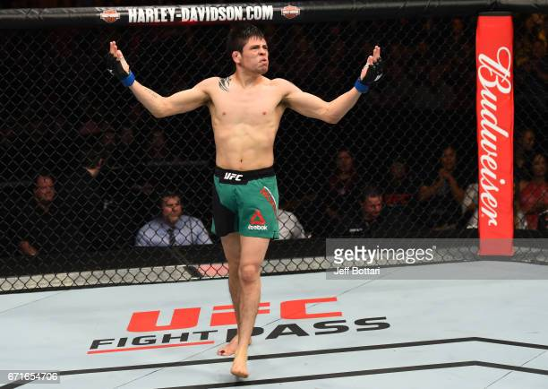 Brandon Moreno of Mexico celebrates after his submission victory over Dustin Ortiz in their flyweight bout during the UFC Fight Night event at...