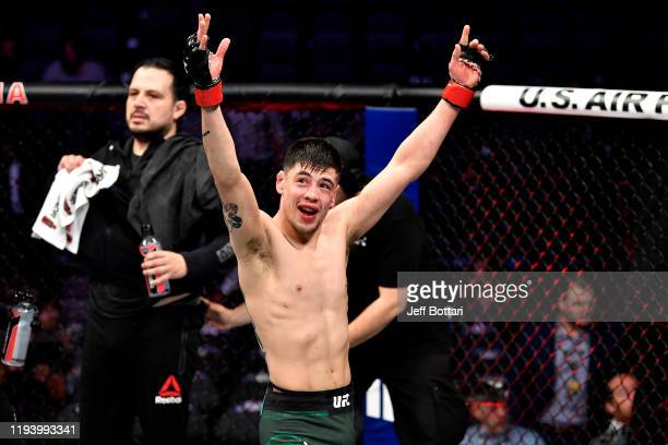 Brandon Moreno of Mexico celebrates his win over Kai Kara-France of New Zealand in their flyweight bout during the UFC 245 event at T-Mobile Arena on...