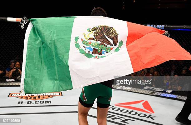 Brandon Moreno of Mexico reacts after the conclusion of his flyweight bout against Ryan Benoit during The Ultimate Fighter Finale event inside the...