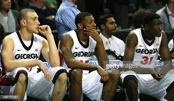 Brandon MorrisDonte' Williams AND Brandon Morris of the Georgia Bulldogs react to the loss to the Indiana Hoosiers during the Legends Classic on...