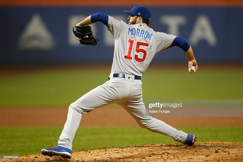 Brandon Morrow #15 of the Chicago Cubs pitches against the New York Mets during the ninth inning at Citi Field on May 31, 2018 in the Flushing neighborhood of the Queens borough of New York City. The Cubs defeated the Mets 5-1.