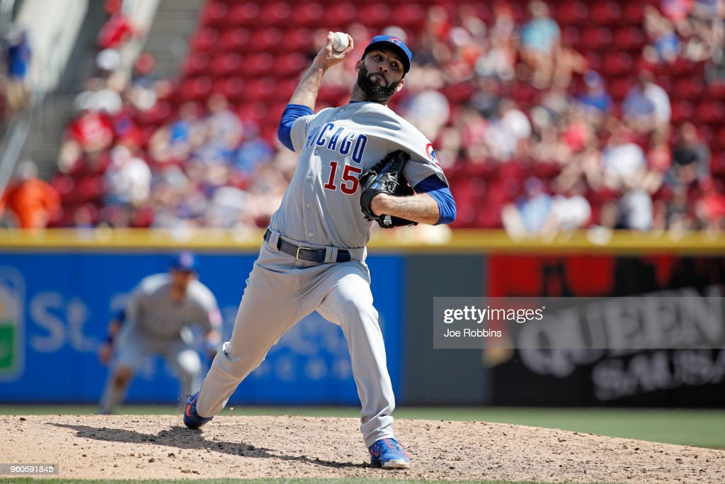 Brandon Morrow #15 of the Chicago Cubs pitches in the ninth inning against the Cincinnati Reds at Great American Ball Park on May 20, 2018 in Cincinnati, Ohio. The Cubs won 6-1.